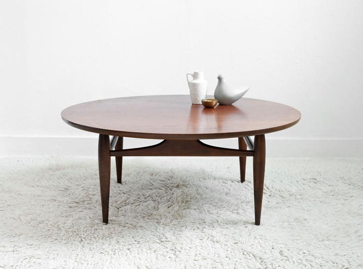Vintage Mid Century Coffee Table   Wood, Modern, Side Table, Round