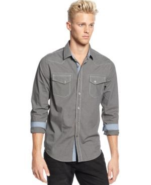 American Rag Men's Mini Houndstooth Shirt, Only at Macy's - Gray XL