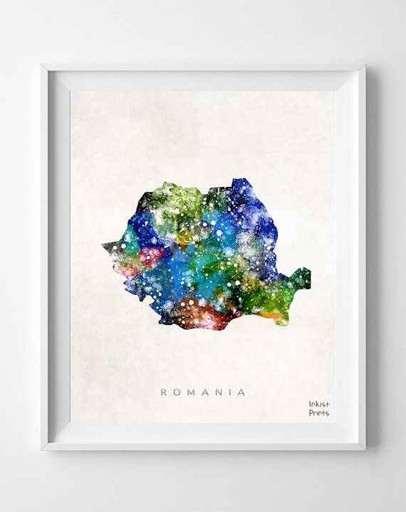 Romania Map Watercolor Bucharest Romanian Europe by InkistPrints