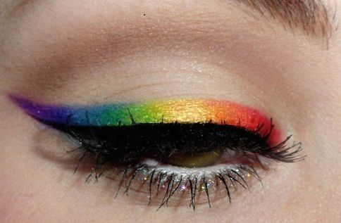 .Eye Makeup, Cat Eyes, Eye Shadows, Colors, Rainbows Eyeshadows, Winged Eyeliner, Eyemakeup, Eye Liner, Gay Pride