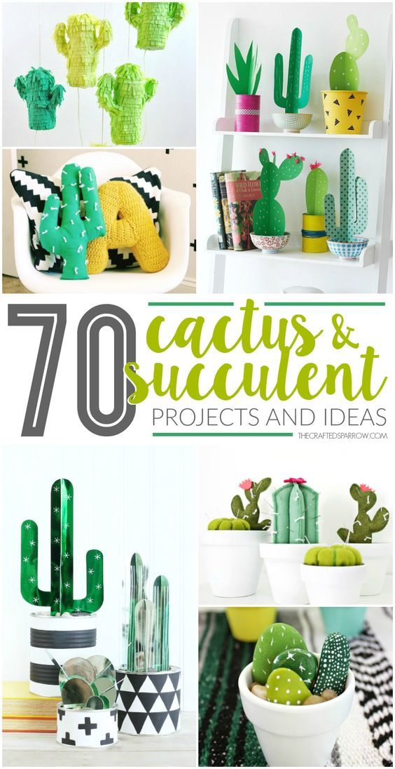 Cactus and succulents are a hot trend in home decor, get inspired with one of these 70 Faux Cactus & Succulent Projects and Ideas.