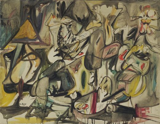 """In 1939 he met the Chilean Surrealist painter Roberto Matta who influenced him greatly. The Surrealist philosophy of art unlocking the unconscious enabled Gorky to hone his personal style, which resulted in his artistic style that lasted the remaining eight years of his life. The resulting style could best be described as """"biomorphic forms floating over a background of melting colours""""."""