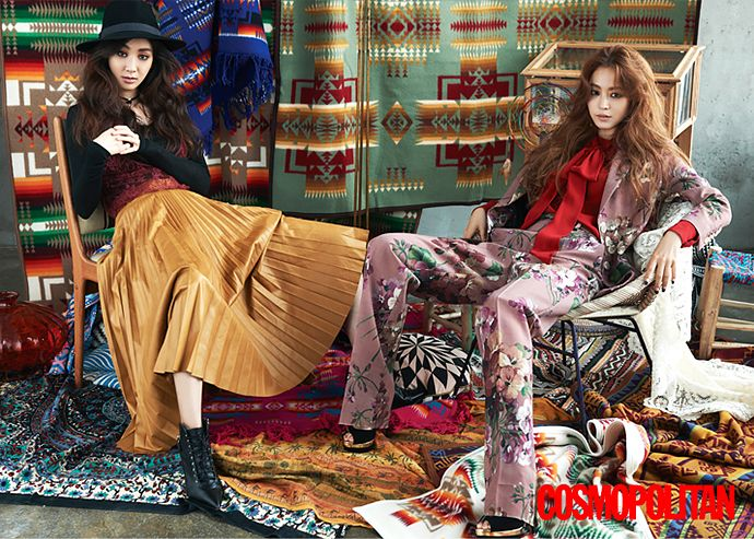 Jung Ryeo-won & Han Ye-seul for Cosmo Korea September 2015 - GUCCI Fall 2015