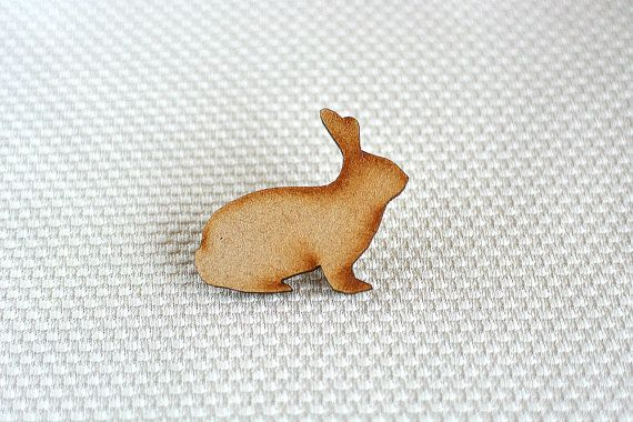 Wooden Rabbit Brooch by ShopSparkleMotion on Etsy. A delightful natural wooden rabbit brooch with beautiful darkened edges.  https://www.etsy.com/uk/listing/218466252/wooden-rabbit-brooch-woodland-animal?ref=shop_home_active_4