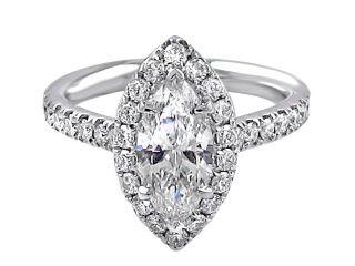 1.01ct Marquise Halo Set Engagement Ring (Platinum)