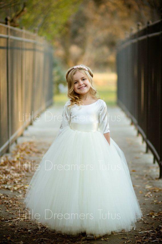 READY to SHIP - 4T Full length - The Sophia Dress in Ivory - Flower Girl Tutu Dress