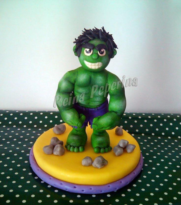 Torta del Increíble Hulk!!! Adorno en Porcelana Fría