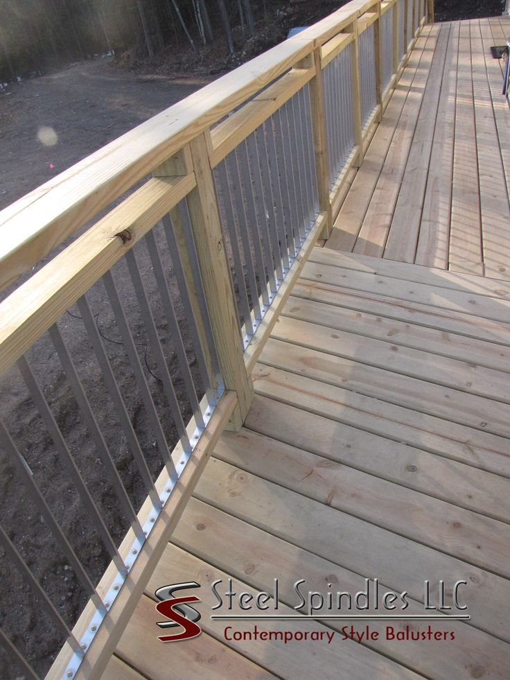 New Contemporary balusters for your deck! So easy to install, no measuring!   Stratospindle benefits,steel spindles, steelspindles.com, steel balusters, stainless steel balusters, deck spindles, deck balusters, metal balusters, metal spindles, contemporary balusters,#stainlesssteel #balusters #steelbalusters #contemporarybalusters #metalbalusters