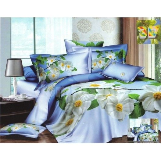 Modré bavlnené posteľné obliečky s motívom bielych kvetov