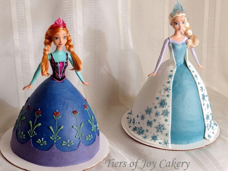 "Disney ""Frozen"" Elsa and Anna doll cakes."