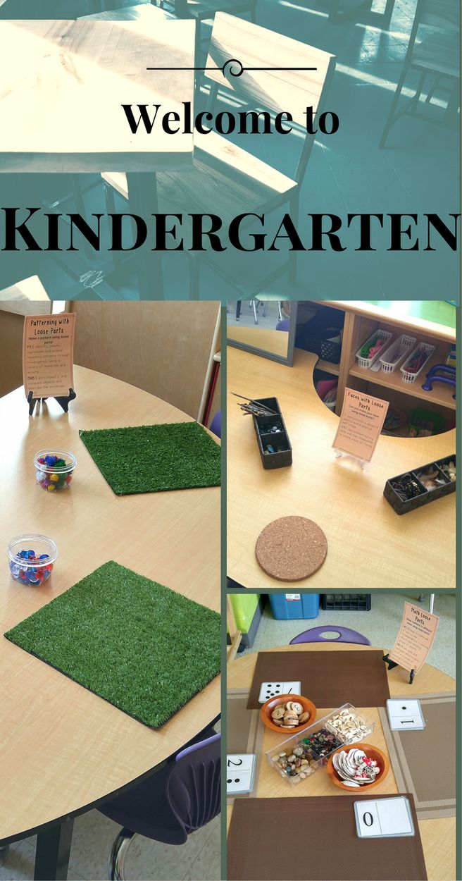 Ideas for your Welcome to Kindergarten night. Loose Parts centers for math and literacy centers. Great for your kindergarten class!