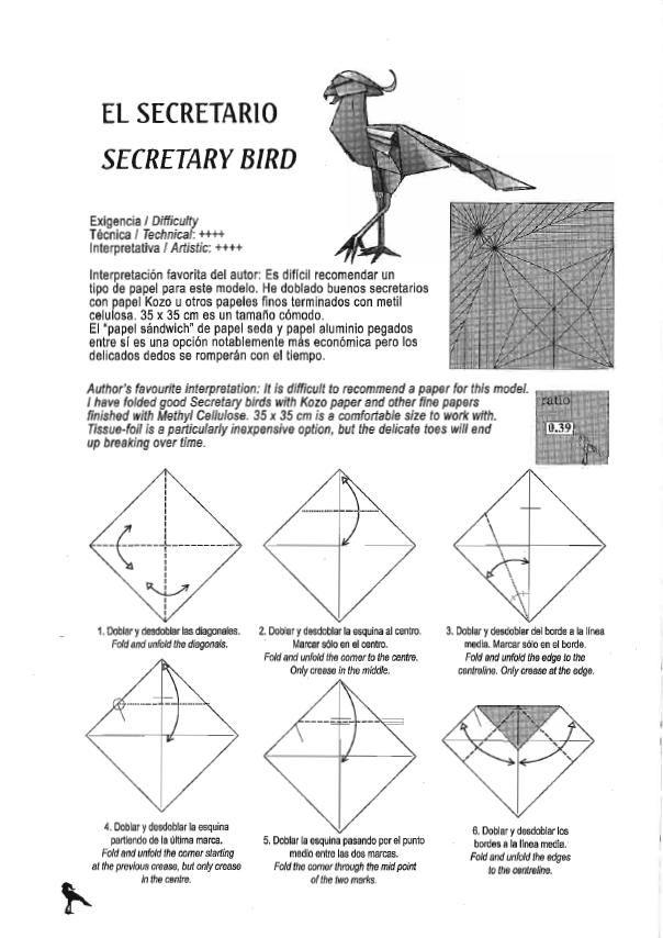 El Arte Del Origami Secretary Bird Arte Del Origami Origami Tipos De Papel
