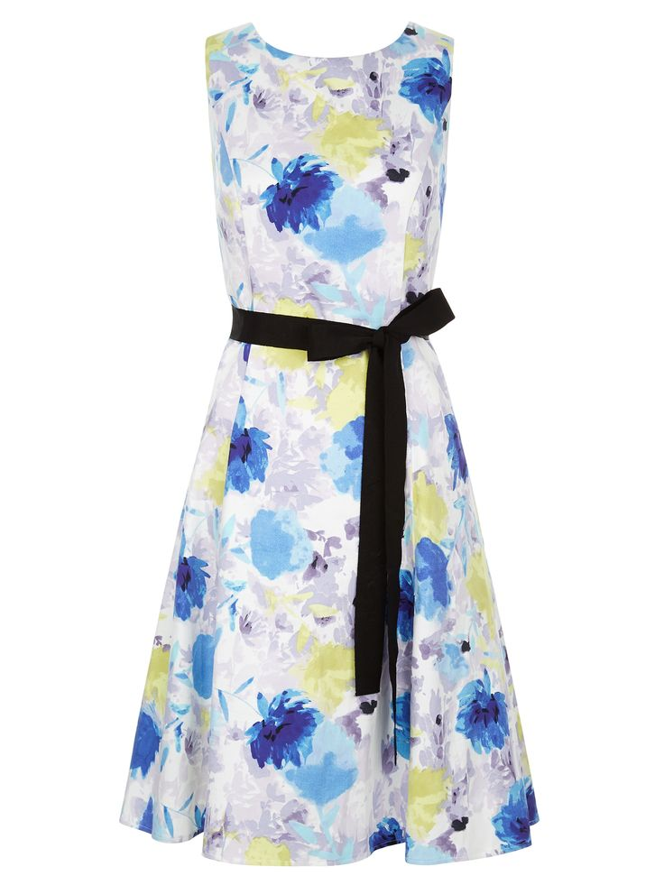 Now reduced to €99!! Floral prom style dress with navy sash belt €169.