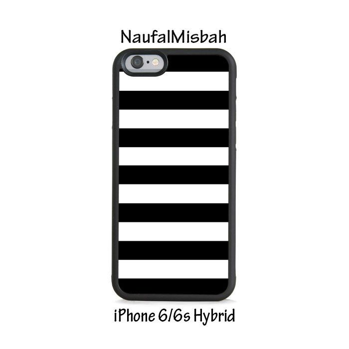 Black White Stripes iPhone 6/6s HYBRID Case Cover