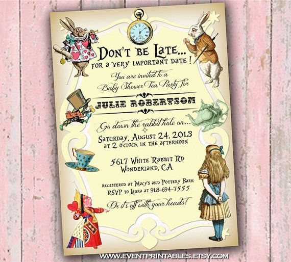 Alice In Wonderland Baby Shower Tea Party Invitation, DIY Printable, Pink,  Blue,