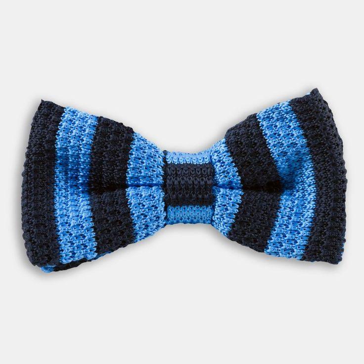 Lacivert Mavi Kalın Çizgili Örgü Papyon