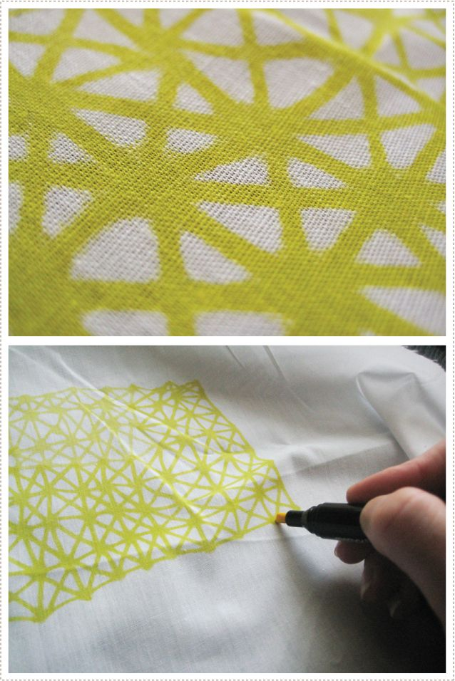 I love this pattern. Drawing straight onto fabric with fabric markers.... from Mer Mag