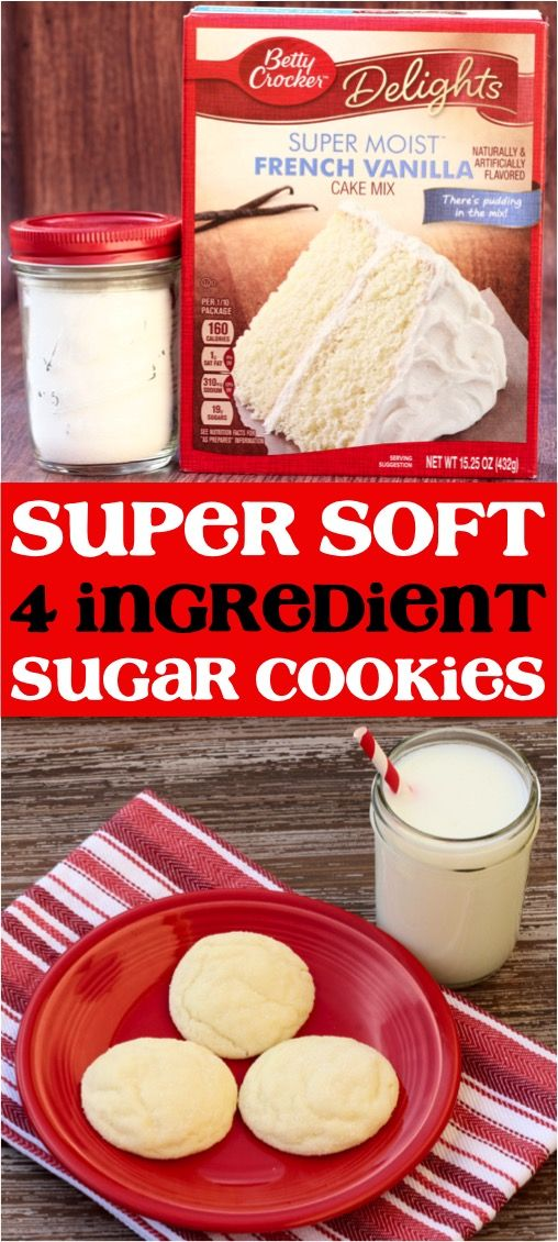 Soft Vanilla Sugar Cookies Recipe! (4 Ingredients) - Never Ending Journeys