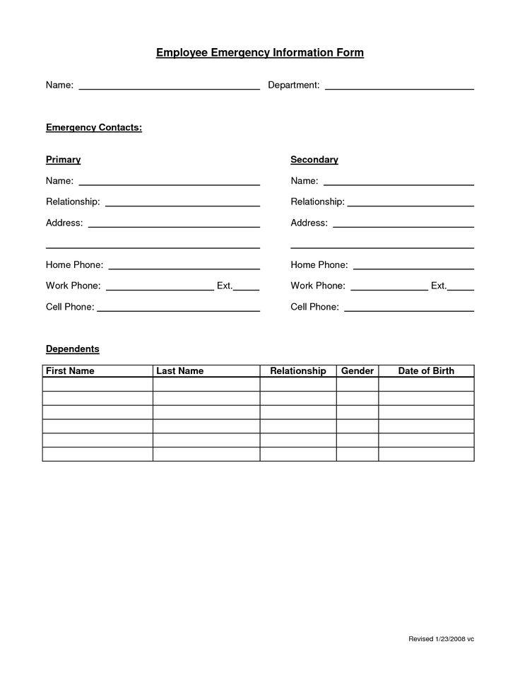 employee emergency form
