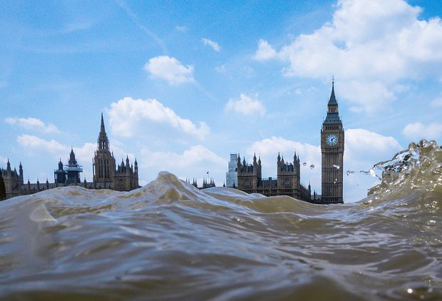 Capture Flooded Views of Cityscapes by Getting Low Above Choppy Water