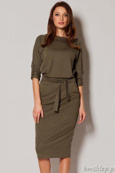 Elegancka sukienka damska stworzona z myślą o kobietach ceniących sobie modę i wygodę. - luźny krój - #dekolt w łódkę - długi #rekaw z możliwością podpięcia - #kieszenie - wiązana w pasie - elastyczny #material Skład: 95% #wiskoza, 5% elastan.... #Sukienki - http://bmsklep.pl/sukienki