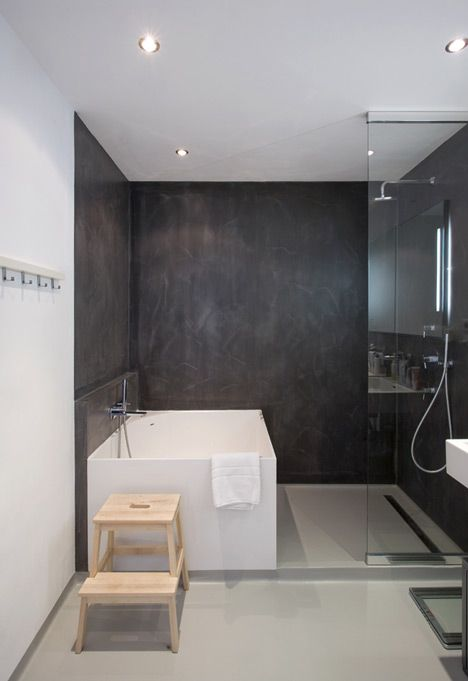 Idea for fitting bath and shower into smaller space (like like out idea but not materials and color)