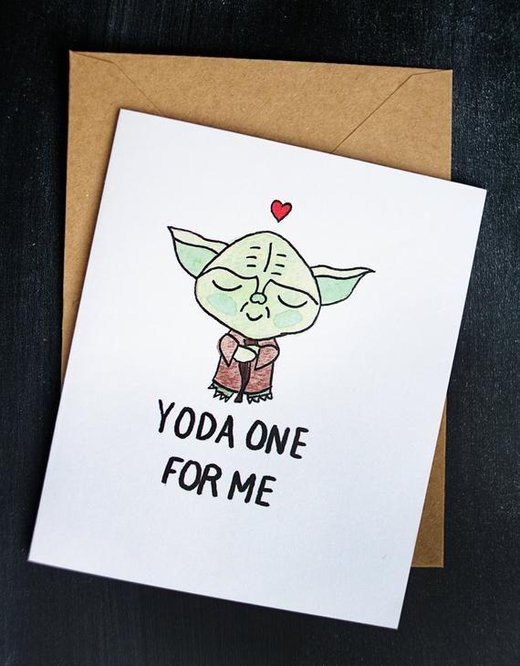 star wars valentine's day card  yoda yoda one for me