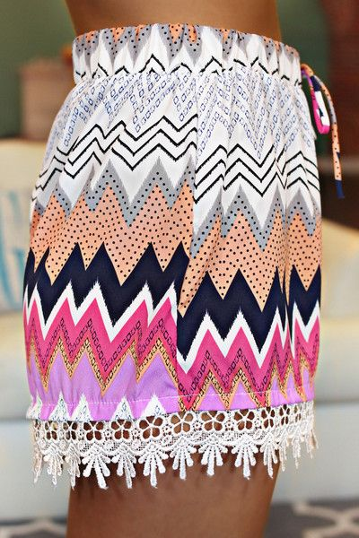 Chevron Printed Crochet Hem Shorts
