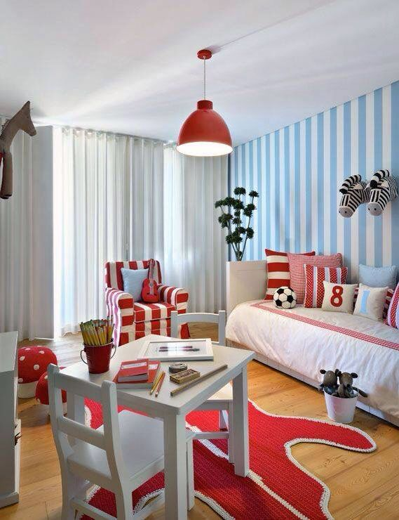 Cute idea for boys bedroom for a soccer player fan in red and white.