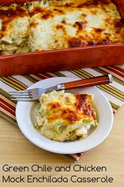 Green Chile and Chicken Mock Enchilada Casserole (Low-Carb, Gluten-Free).  This recipe is so amazing, you won't even think about it being low-carb!