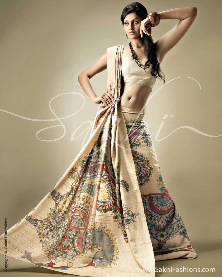 Ethnic Tussar Silk saree exudes sophistication where the natural Tussar hue is painted upon by Kalamkari artists using vegetable dyes to create a masterpirce. Click http://www.sakhifashions.com/saree/craft/kalamkari/sr-0099-kalamkari-tussar.html