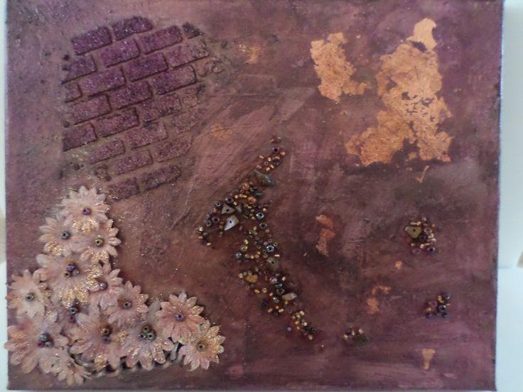 Mixed media murstein, blomster og bladgull