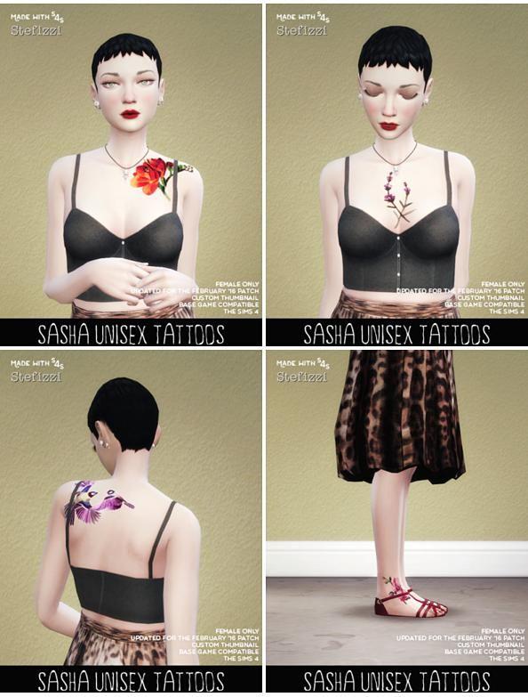Sims 4 Updates: SimsWorkshop - Tattoos : Sasha Tattoos by Stefizzi, Custom Content Download!