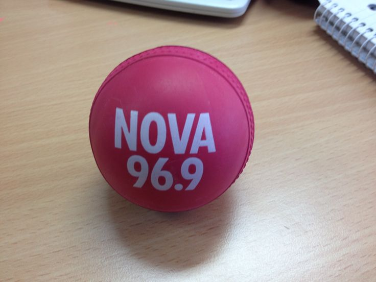 Cricket balls custom made in India with a 1 col print for Nova 96.9