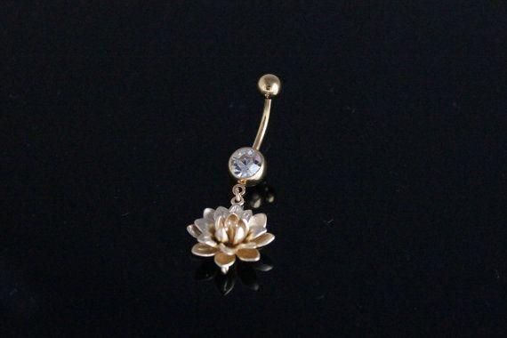 Oro Lotus Blossom ventre anello IP piercing ombelico fiore