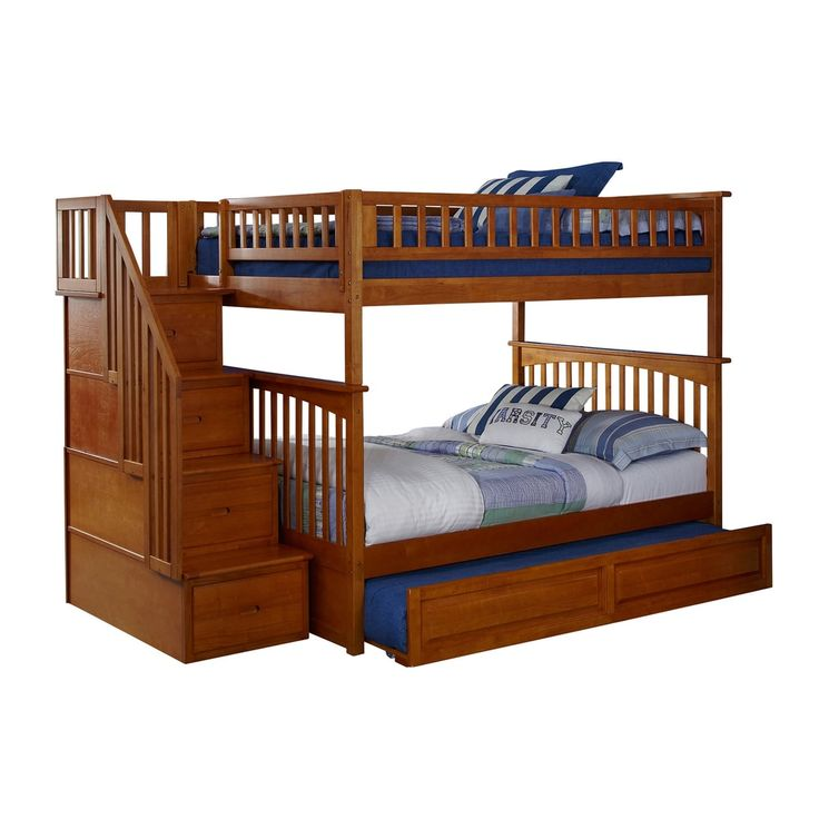 Columbia Caramel Latte Full-over-full Staircase Bunk Bed with Trundle Bed