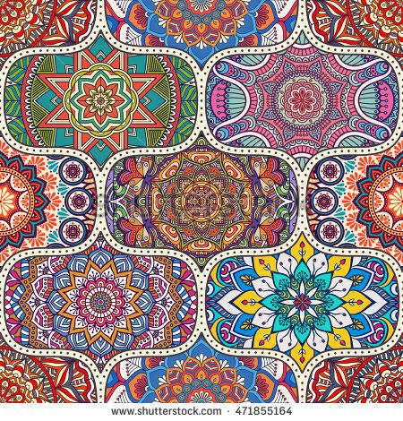 Seamless Tile Pattern Vintage Decorative Elements Hand Drawn Background Arabic