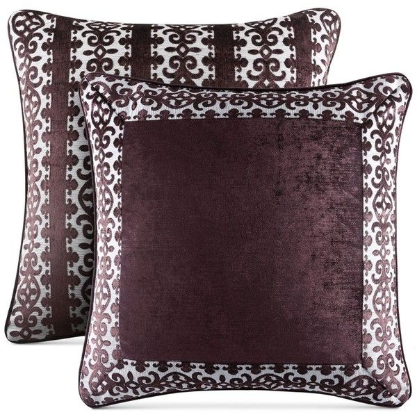 J Queen New York Sicily European Sham ($50) ❤ liked on Polyvore featuring home, bed & bath, bedding, bed accessories, plum, j queen new york bedding and plum bedding