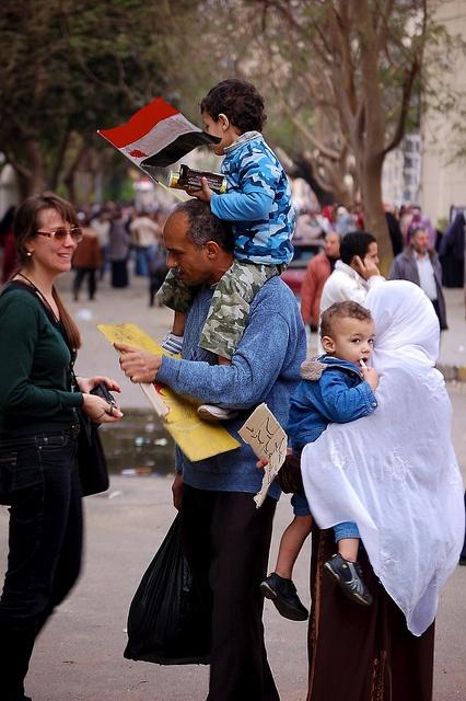 Egypt Revolution: A Family Affair. Tahrir Square, Cairo, Egypt