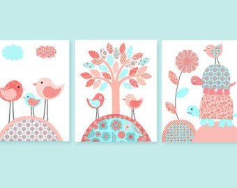 Elefante vivero arte gris y pálido rosa por SweetPeaNurseryArt