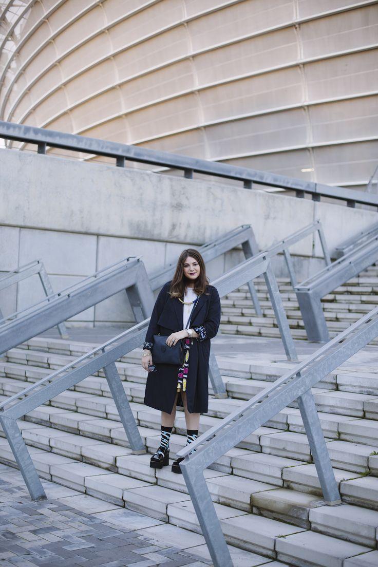 Concrete the visual journal printed socks blogger Raya Rossi Navy YSL platforms