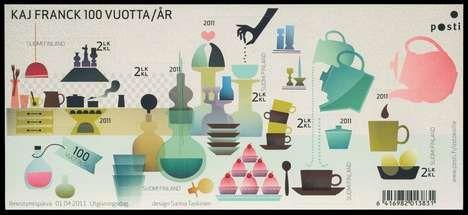 """Kitchen"": Finnish stamp celebrating the 100 years anniversary of Kaj Franck"