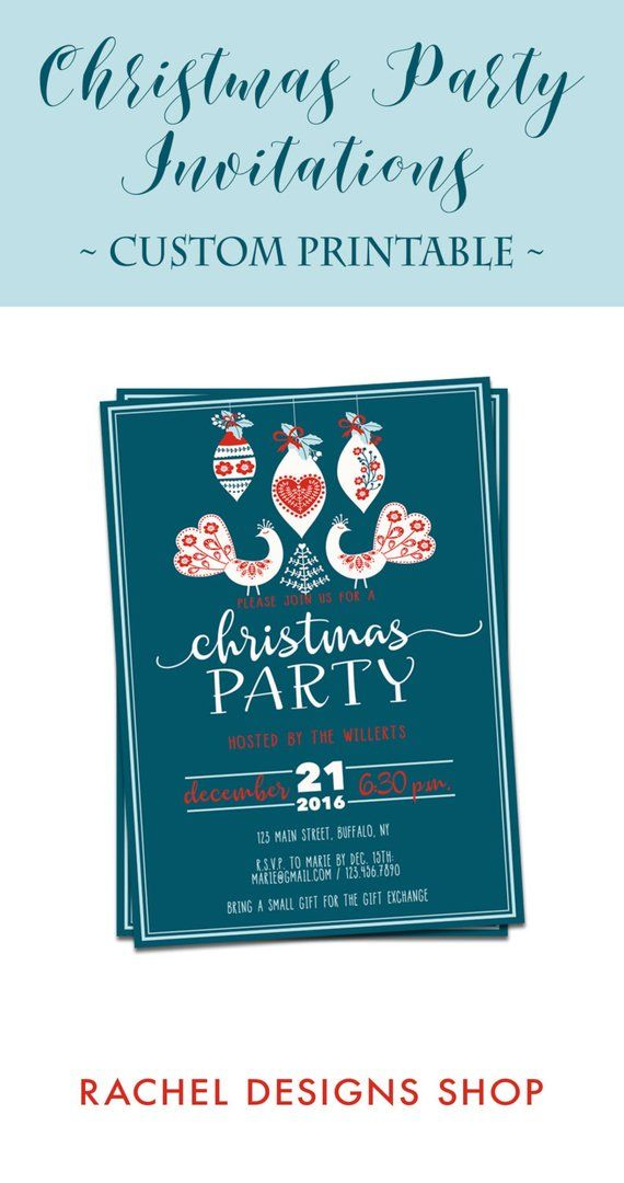 custom christmas invitation red blue christmas party invitation