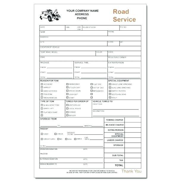 Service Receipt Tow Truck Invoice Towing Service Receipt