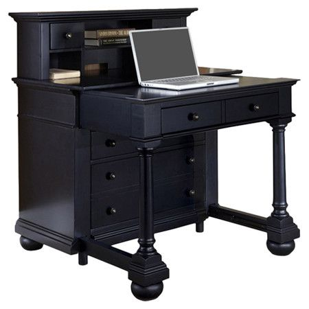 Expanding desk and hutch set with a sliding surface mechanism and two storage drawers.    Product: Desk with hutchCo...