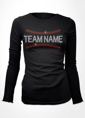 Baseball seams with your team name baseball bling shirt