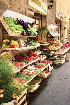 Daily food market in Italy.