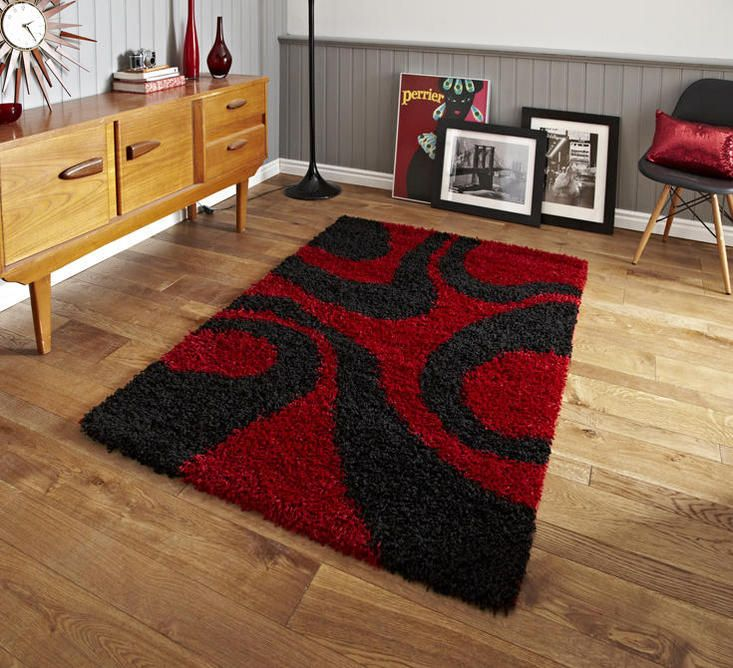 For High Quality Rugs At Great Prices The Vista 4263 Shaggy Rug Red Black A Price And Get Free Fast Delivery