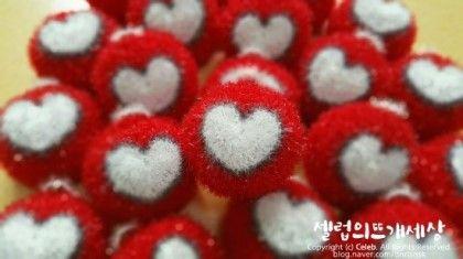 """짱가쏭의 꽃잔 호빵이 끝나고 연달아 시작한 러브홀릭 수세미.. 하트는 만국공통어 - """"사랑""""을 의미하죠 ^^..."""