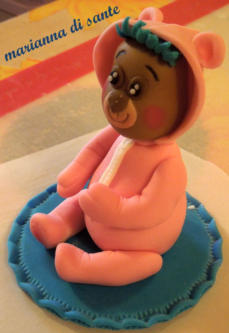 mini cake topper-pink little bear with a blue hair :-)
